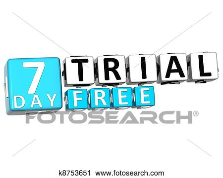 3D Get 7 Day Trial Free Block Letters Stock Image