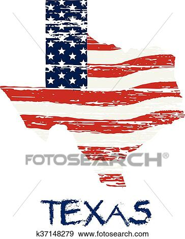 American Map Vector.Clip Art Of American Flag In Texas Map Vector Grunge Style