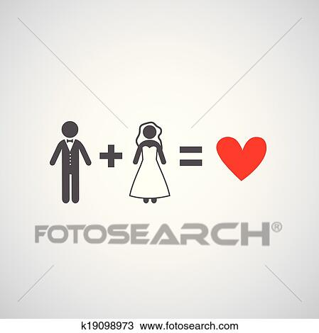 Clipart Of Bride And Groom Symbol K19098973 Search Clip Art