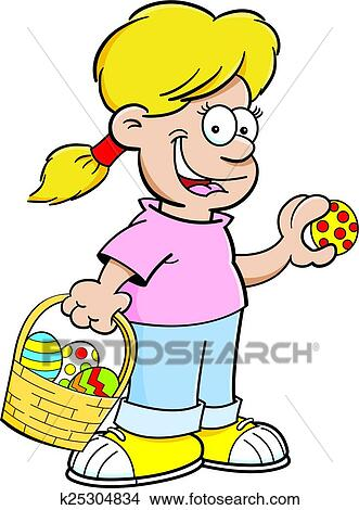 clipart of cartoon girl on an easter egg hunt k25304834 search rh fotosearch com church easter egg hunt clipart easter egg hunt clip art free
