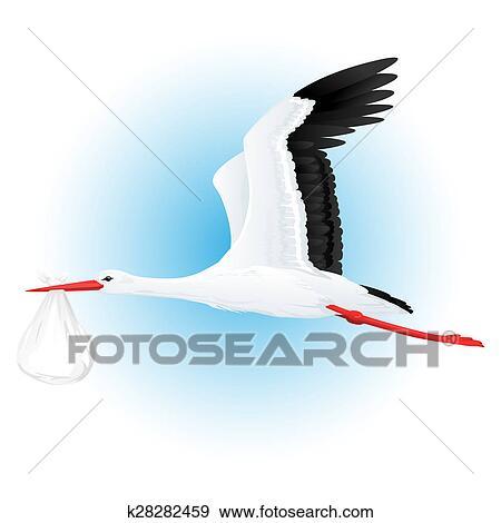 arquivos de ilustração cegonha voando com pacote k28282459