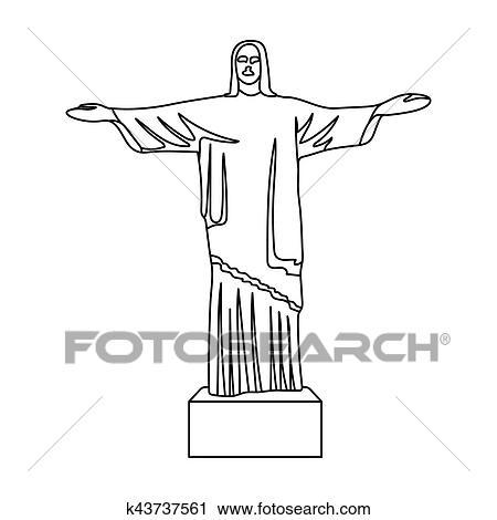 Dessin Christ Redempteur clipart - christ rédempteur, icône, dans, contour, style, isolé