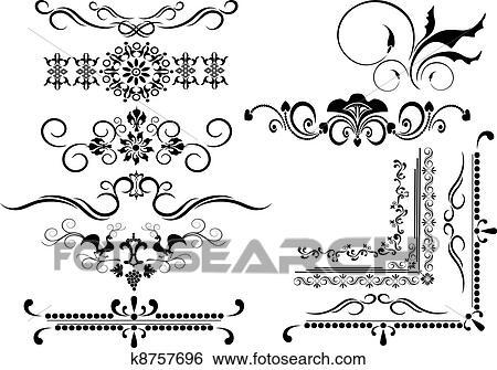 Clip Art of Decorative frame, border of ornamen k8757696 - Search ...