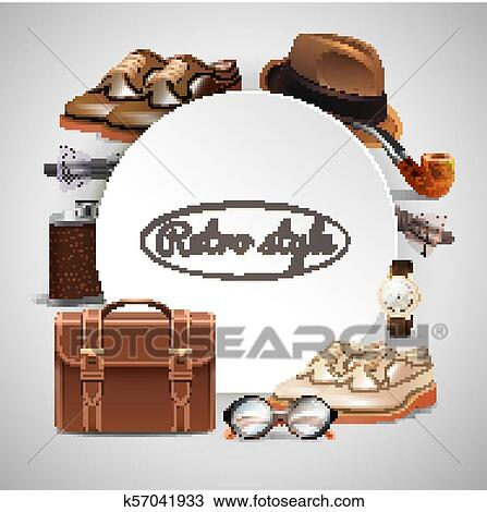 397bb7125a525 Retro gentleman accessories round frame with shoes briefcase glasses watch  pipe hat bow tie realistic vector illustration