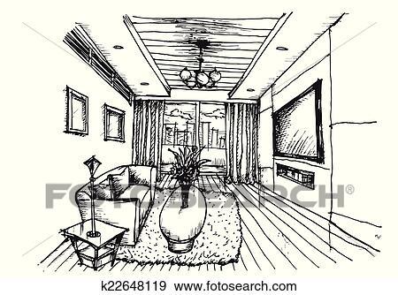 Clipart - hand, tekening, interieurdesign, voor, woonkamer k22648119 ...