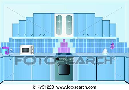 Clipart - innere, von, dass, küchen, von, dass, blau, color ...