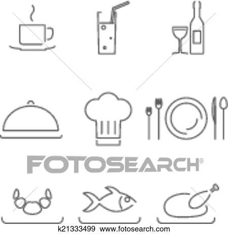Clip Art - moderno, linea, chef, ristorante, cibo, cucina, icone, e ...