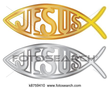 Stock Illustrations Of Silver And Gold Christian Fish Symbol