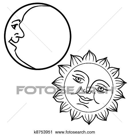 Vector Illustration Of Moon And Sun With Faces Clipart