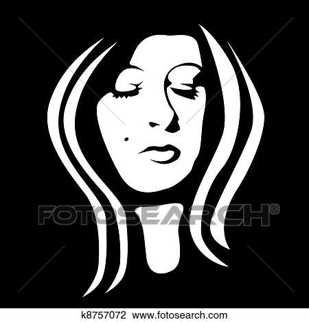 Dessin Visage Noir Et Blanc clipart - visage femme, noir blanc, -, illustration k8757072