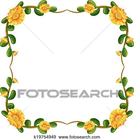 Clip Art Of A Floral Border With Yellow Flowers K19754949 Search