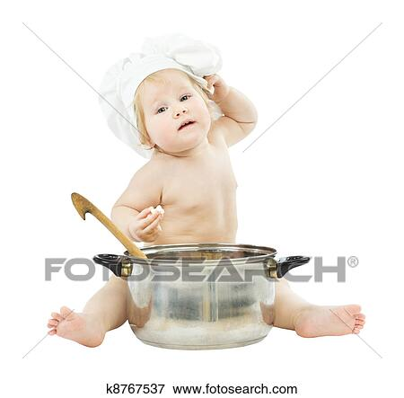 Picture of baby cook in chef hat with big pot 021fdb251f28