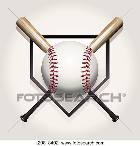 Clipart Of Baseball Bat Homeplate Illustration K20818402 Search