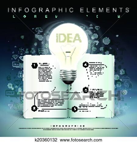 Clipart of bulb and book flow chart infographics k20360132 search clipart bulb and book flow chart infographics fotosearch search clip art illustration ccuart Image collections