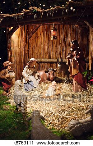 Christmas Nativity Scene.Christmas Nativity Scene With Three Wise Men Presenting Gifts To Baby Jesus Mary Joseph Stock Image