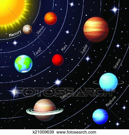 clip art of colorful vector solar system k21009639 search clipart rh fotosearch com solar system clipart png solar system clip art black and white