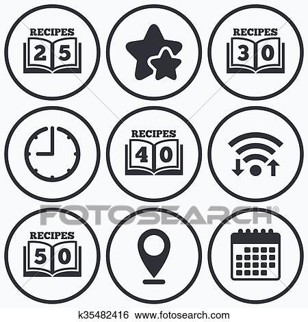 Cookbook icons. Fifty recipes book sign. Clip Art