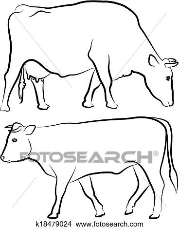 clipart of cow and bull outlines k18479024 search clip art