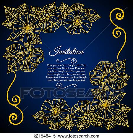 Elegant Invitation Card With Floral Lace Quilling Clipart