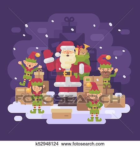 Stock photo of santa claus delivery service santa with a team of santa claus delivery service santa with a team of elves and a pile of parcels and presents on a snowy winter night christmas characters greeting card flat m4hsunfo