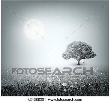 Summer Field Sky Tree Grass Moon Evening Clipart K24388201