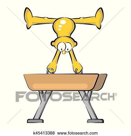 clip art of artistic gymnastics athlete in pommel horse k45413388