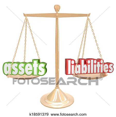 stock photograph of assets and liabilities words on a gold scale to