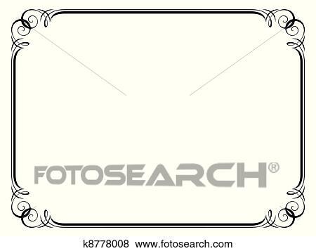 Clip Art of calligraphy ornamental decorative frame k8778008 ...
