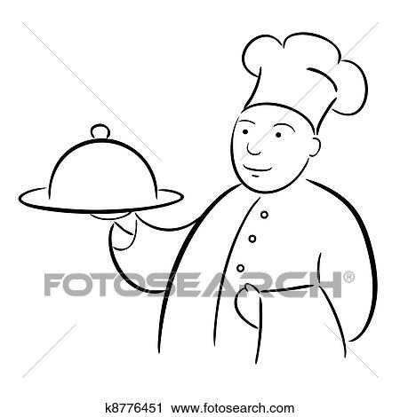 Clipart chef cuistot cuisinier plateau - Chef cuisinier dessin ...