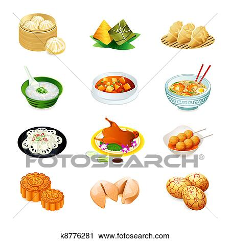 clipart of chinese food icons k8776281 search clip art rh fotosearch com chinese restaurant clipart free eating chinese food clipart