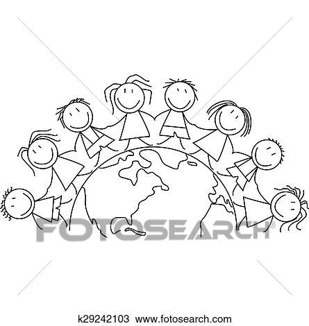 Criancas Prendem Maos Ligado Mundo Desenho K29242103 Fotosearch