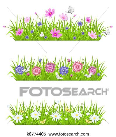 Green Grass And Flowers Clipart K8774405 Fotosearch
