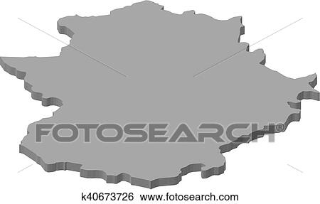 3d Map Of Spain.Map Extremadura Spain 3d Illustration Clip Art