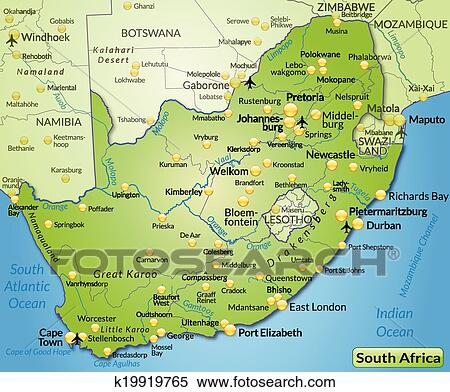 Cartina South Africa.Map Of South Africa Clipart K19919765 Fotosearch