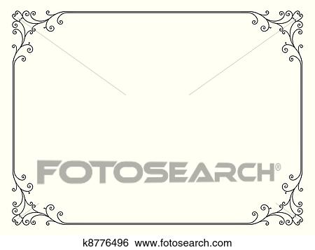 Clip Art of simple ornamental decorative frame k8776496 - Search ...