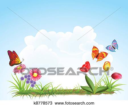 Clipart of spring flowers background k8778573 search clip art clipart spring flowers background fotosearch search clip art illustration murals drawings mightylinksfo