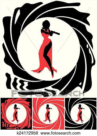 clip art of spy female k24172958 search clipart illustration rh fotosearch com secret agent clipart black and white