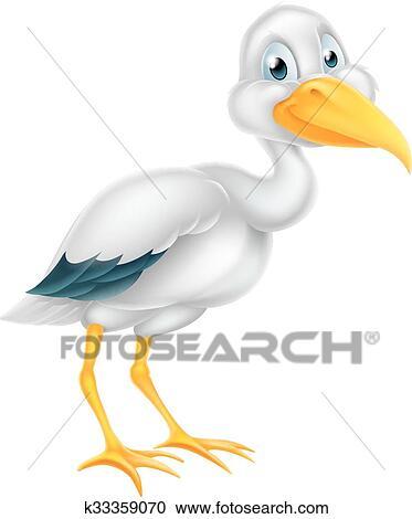 Stork Bird Cartoon Clipart K33359070 Fotosearch