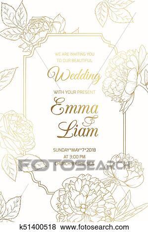 Clip Art Of Wedding Invitation Golder Rose Peony Flowers Frame