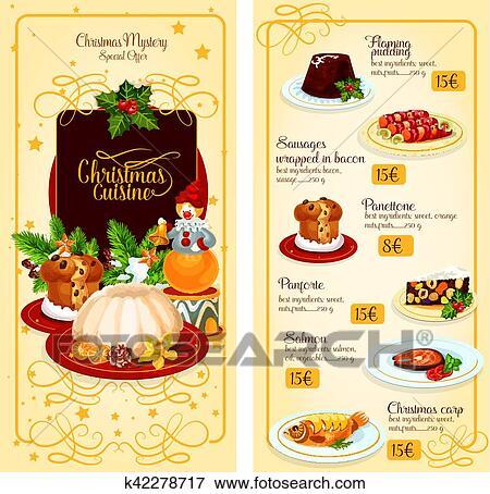 Menü Weihnachten.Weihnachten Küche Restaurant Menü Schablone Design Clip Art