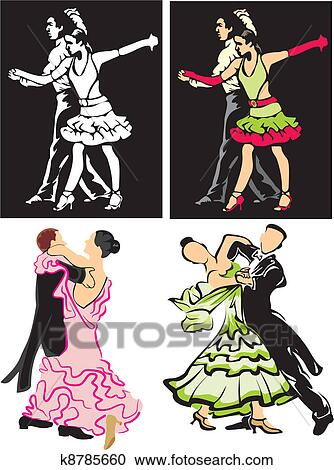 社交ダンス ダンサー クリップアート切り張りイラスト絵画集