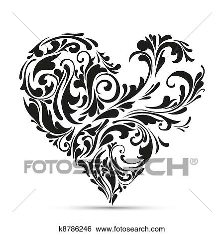 Abstract Floral Heart Love Concept