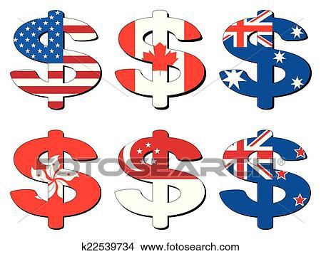 Americano Canadense Australiano Hong Kong Cingapura Nova Zelândia Símbolo Dólar Vetorial Iração