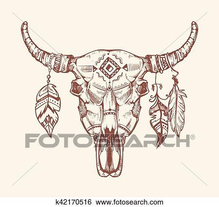 Azteca Tribal Bufalo Craneo Vector Camiseta Impresion Tattoo