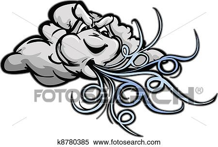clipart of blowing cartoon wind storm cloud k8780385 search clip rh fotosearch com cartoon character with storm cloud Mean Cartoon Storm Clouds