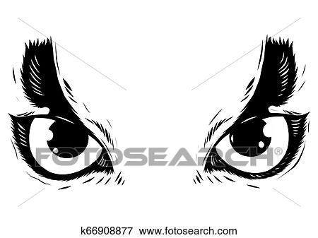 Desenho De A Olhos Coruja Branco Fundo Clipart K66908877