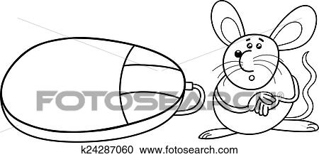 Clipart Edv Und Echte Maus Färbung Seite K24287060 Suche