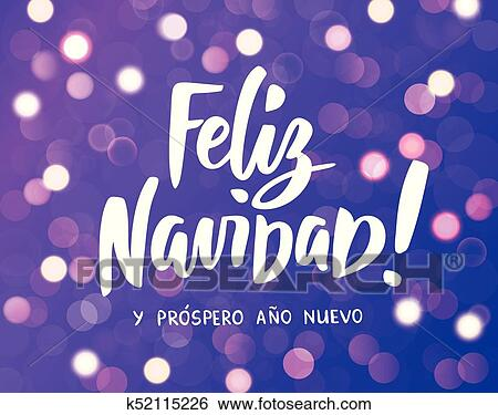 feliz navidad y prospero ano nuevo spanish merry christmas and happy new year hand drawn text purple glowing lights background holiday greetings quote