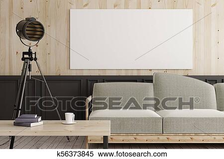 Mockup poster blank modern interior sofa decor render u stock