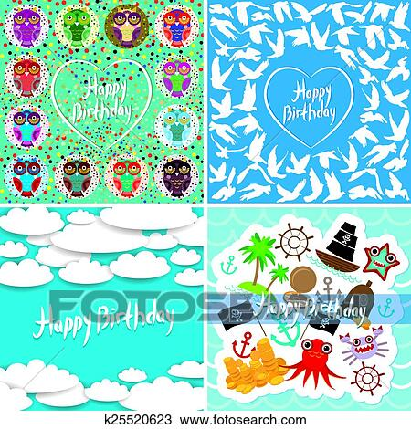 Clipart Of Funny Colorful Happy Birthday Card Set Vector K25520623